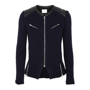 IRO Ceylona Leather From Knit Moto Jacket Zip